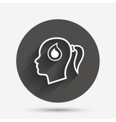 Head with drop sign icon female woman head vector