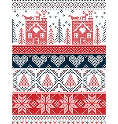 Tall xmas pattern with gingerbread house in green vector image