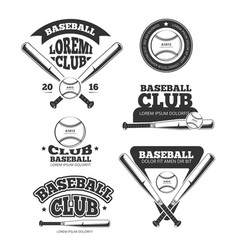 Vintage baseball sports old logos and vector