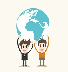 Man holding earth business man vector