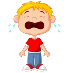 Young boy cartoon crying vector