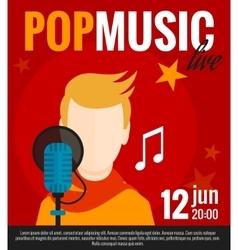 Pop Singer Flat Poster vector image