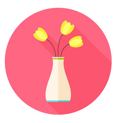 Flat vase with tulip flowers circle icon with long vector