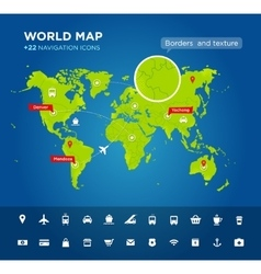 World map with 22 icons vector