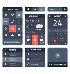 Red and blue set of mobile interface elements on vector image