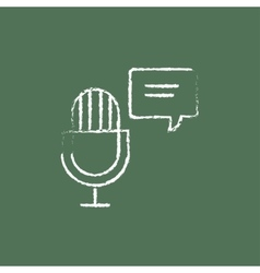 Microphone with speech square icon drawn in chalk vector