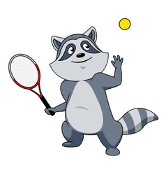 Cartoon raccoon tennis player character vector