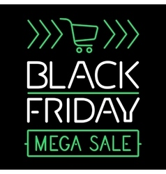 Black friday sale glowing text line poster vector