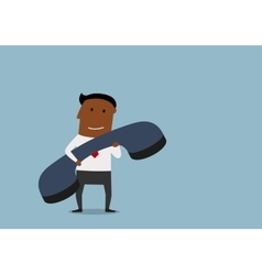 Happy businessman with huge phone vector