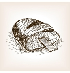 Rasp in bread hand drawn sketch style vector
