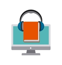 Computer book and headphone icon audiobooks vector