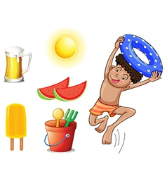 A boy with the different things for summer vector image