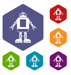 Automation machine robot icons set hexagon vector
