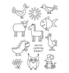 Cartoon animals coloring book vector