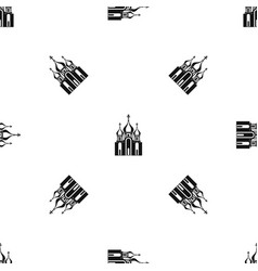church building pattern seamless black vector image vector image