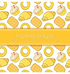 delicious pastries in doodle style with place for vector image vector image