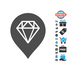 diamond map marker icon with free bonus vector image vector image