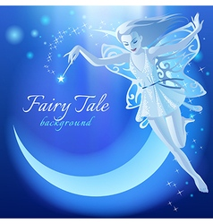 Fairy Tale blue luminous background vector image vector image