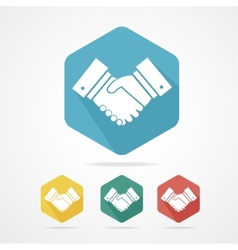 Flat business icon set handshake vector image vector image