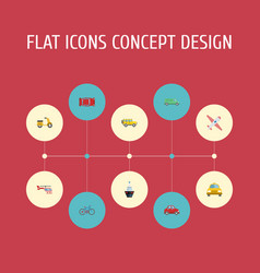 flat icons aircraft scooter bicycle and other vector image vector image