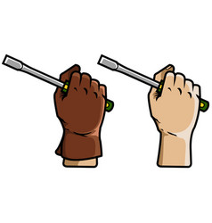 hand holding screwdriver vector image vector image