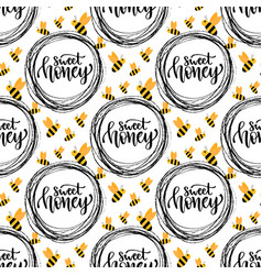 honey seamless pattern with bee packaging design vector image