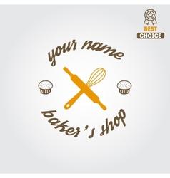 Logo label emblem or badge for bakery or baker vector