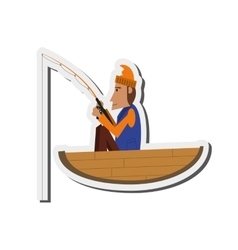 Man fishing on boat icon vector