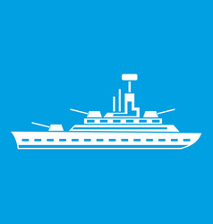 military warship icon white vector image vector image