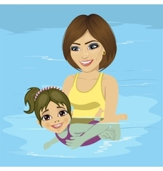 mother teaching her little girl how to swim vector image vector image