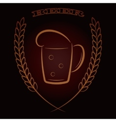 Mug beer with ears of wheat on dark brown vector image vector image