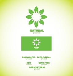 Natural bio product badge vector