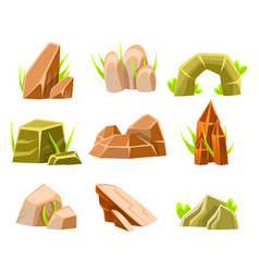 natural brown and green rocks of different shape vector image
