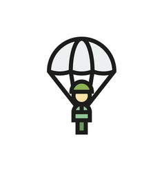 Parachutist icon in simple style vector