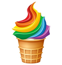 Rainbow ice-cream in cone vector image vector image