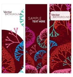 Retro colorful 3 banners with abstract trees vector image vector image