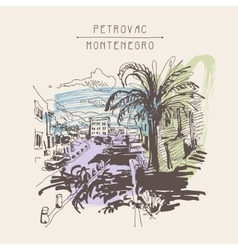 Sepia sketch drawing of petrovac montenegro street vector