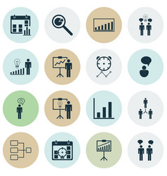 Set of 16 management icons includes solution vector