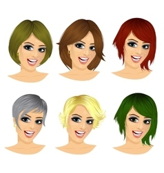 Set of woman avatar with different hairstyles vector