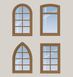 Set of wooden windows vector