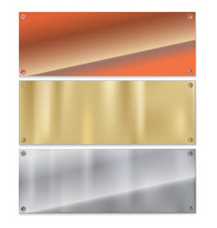 Shiny brushed metal plate banners on white vector image vector image