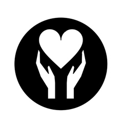 silhouette hands holds heart love care vector image