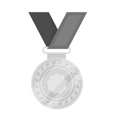 silver medal on a red ribbonthe award for second vector image vector image
