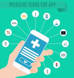 Smartphone in hand medical application on the vector image