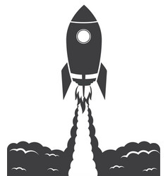 startup cosmic rocket black and white vector image