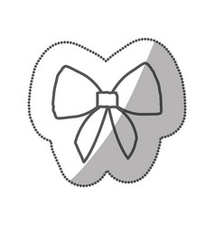 Sticker silhouette realistic cute ribbon with bow vector