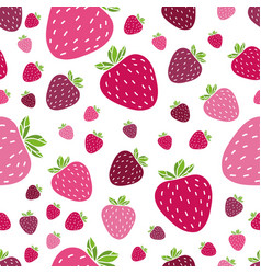 Summer pattern with delicious strawberries vector
