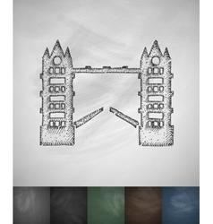 Tower bridge icon hand drawn vector