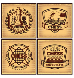 Vintage chess tournament posters vector