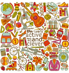 Be active and clever background vector